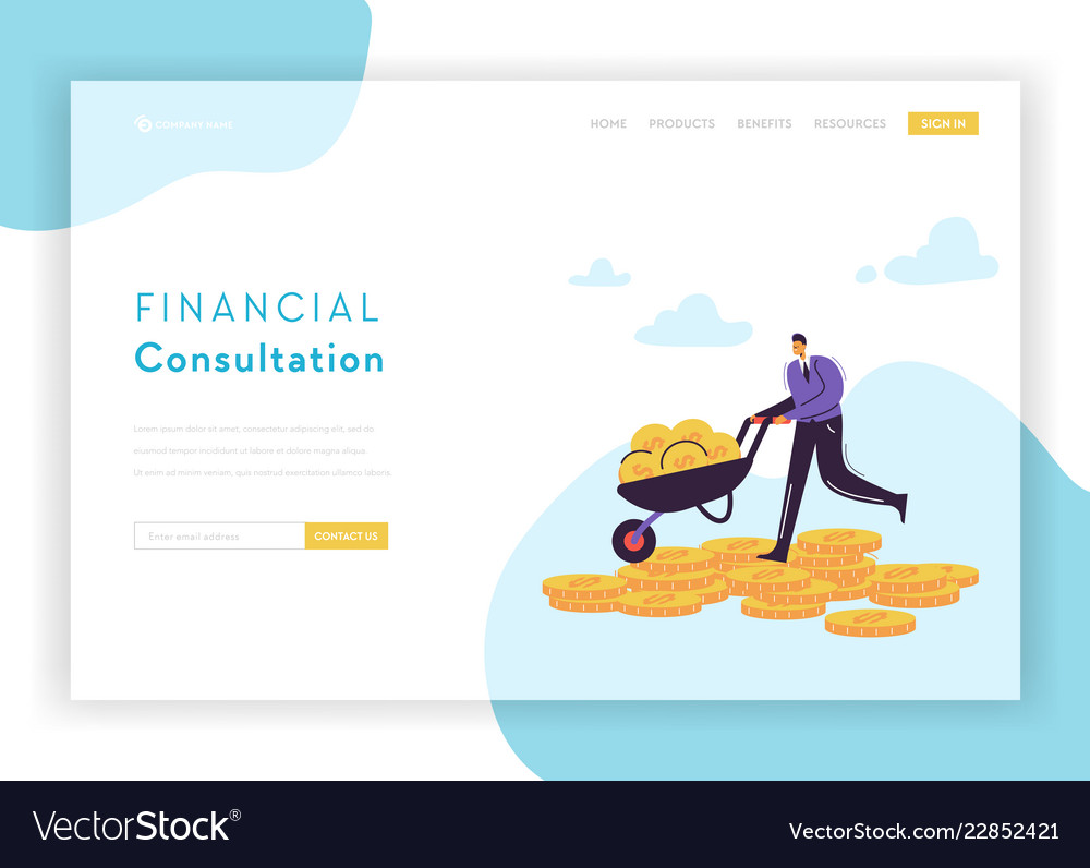 Financial consultation strategy landing page