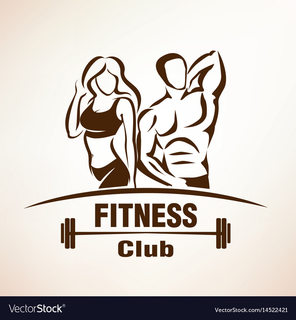 Fitness symbol outlined sketch emblem or label