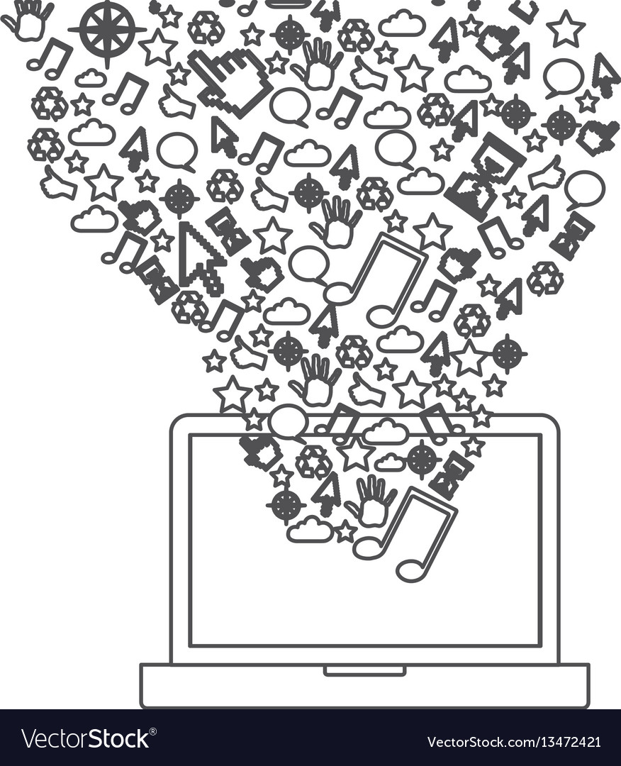 Grayscale contour with laptop and internet icons