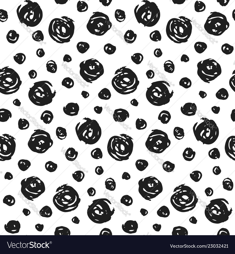 Hand drawn pattern with black round elements