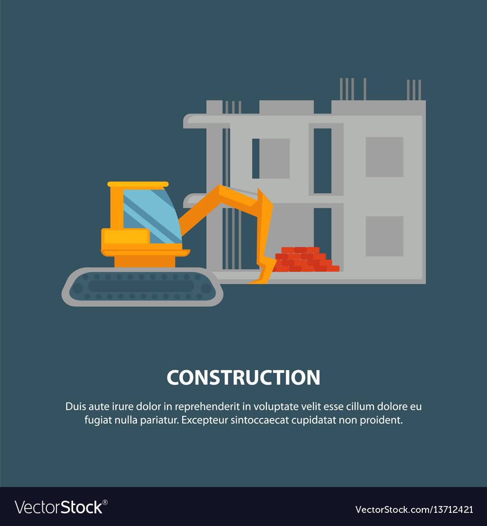 Home construction with yellow excavator graphic