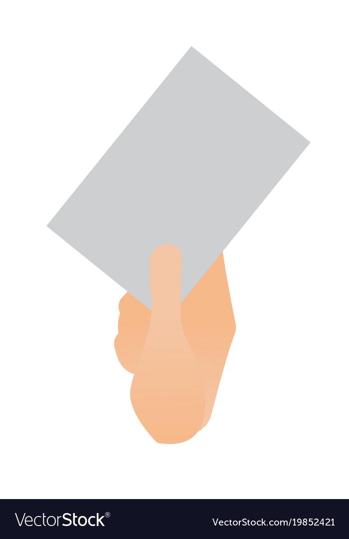 Human hand holding a blank paper sheet