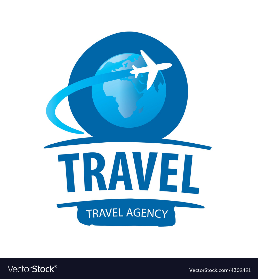 Logo airplane flying around the globe vector image