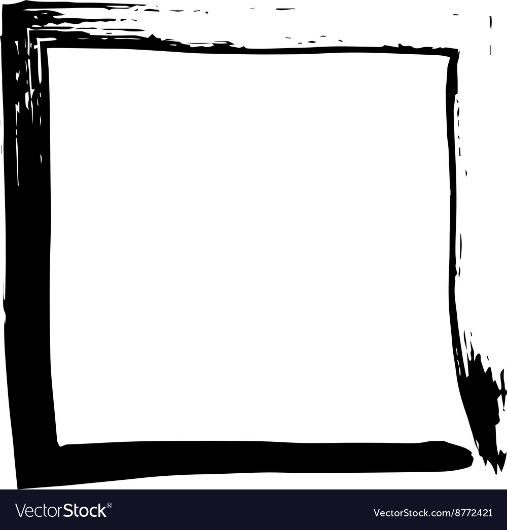 Square frame brush grunge paint watercolour vector image