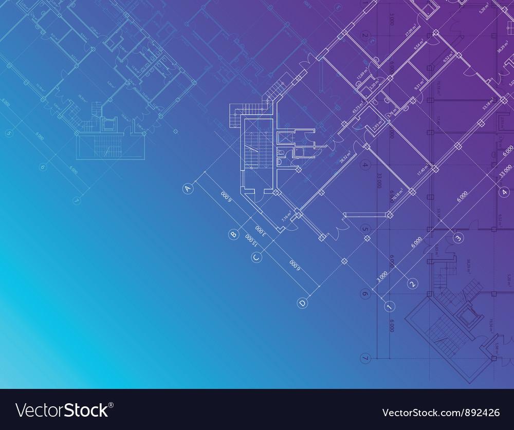 Blue architectural background horisontal vector image