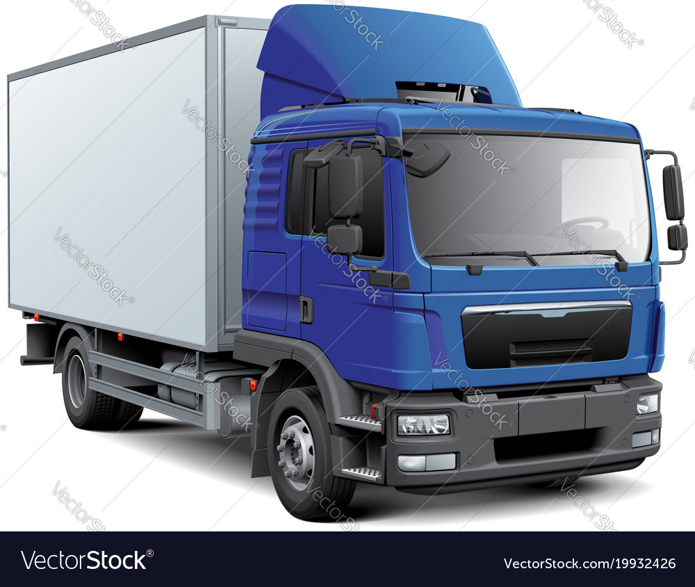 Box truck with blue cabine vector image
