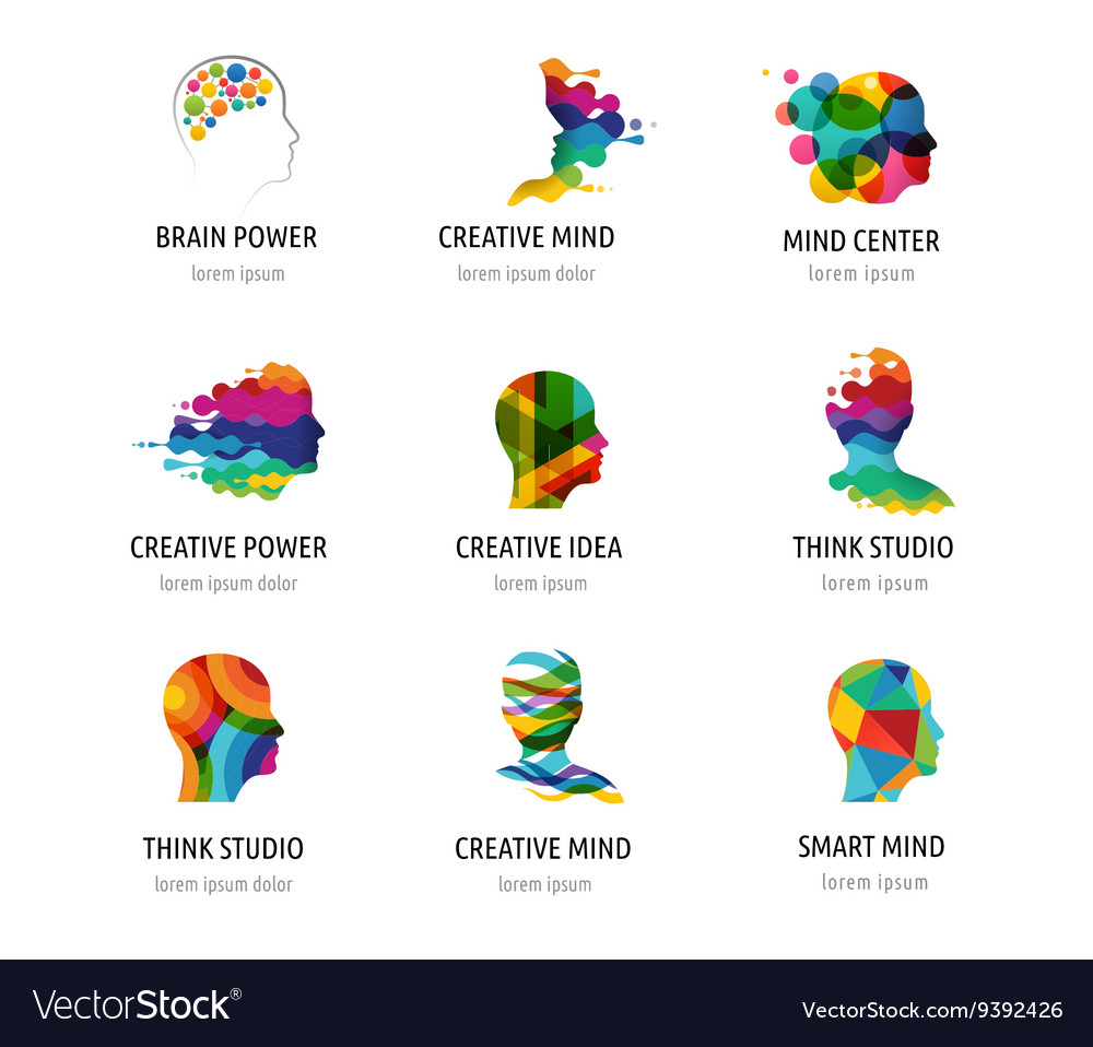 Brain Creative mind man head learning icons