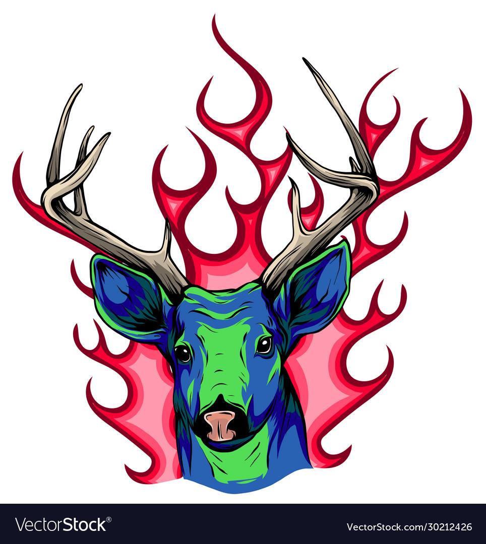 Deer sketch graphics color head with horns