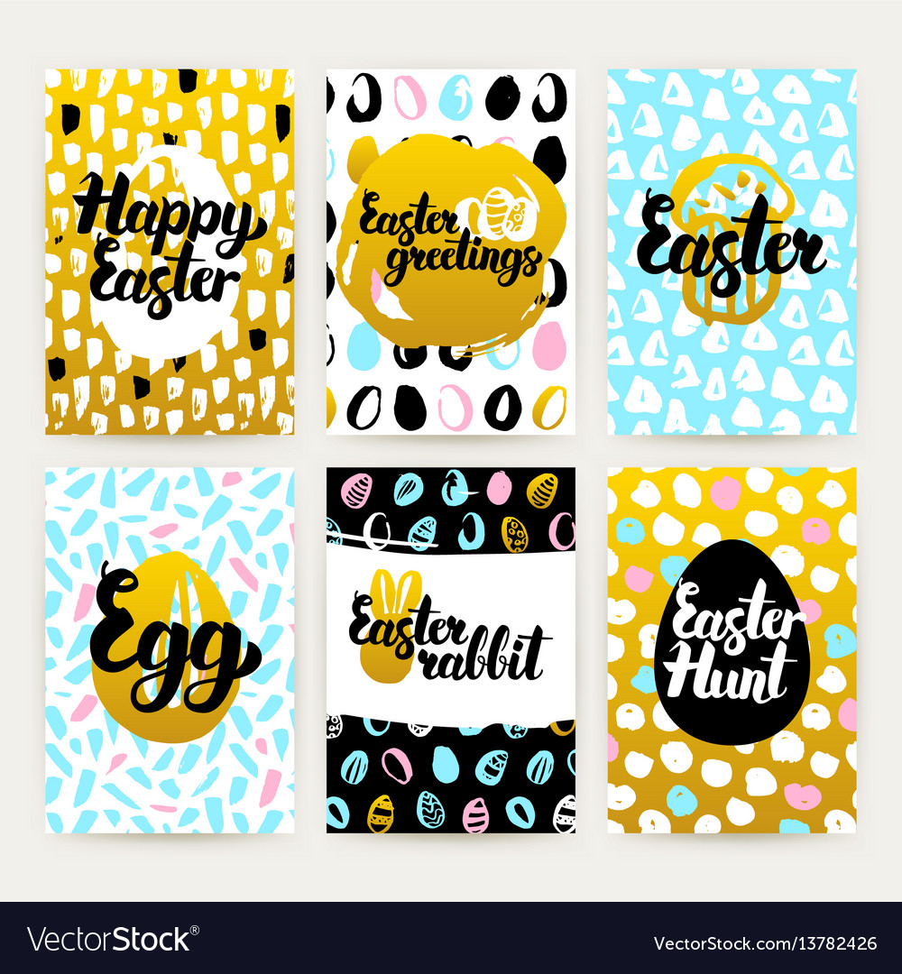 Easter greetings trendy brochures vector image