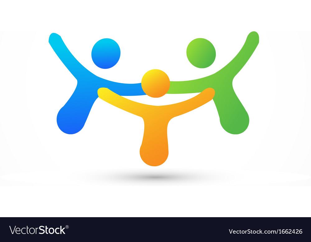 Happy business friends logo vector image