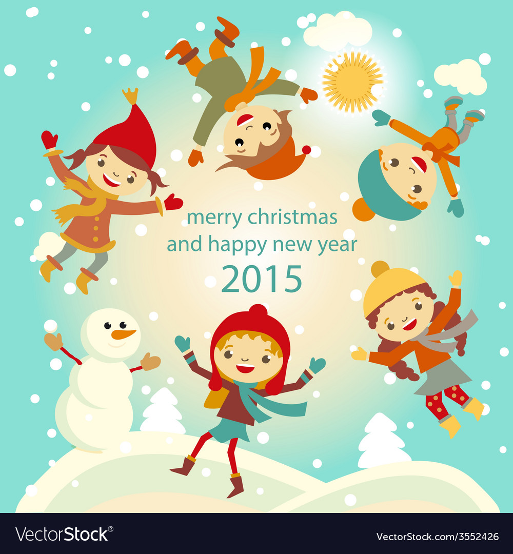 Happy kids playing with snow retro christmas card vector image m4hsunfo