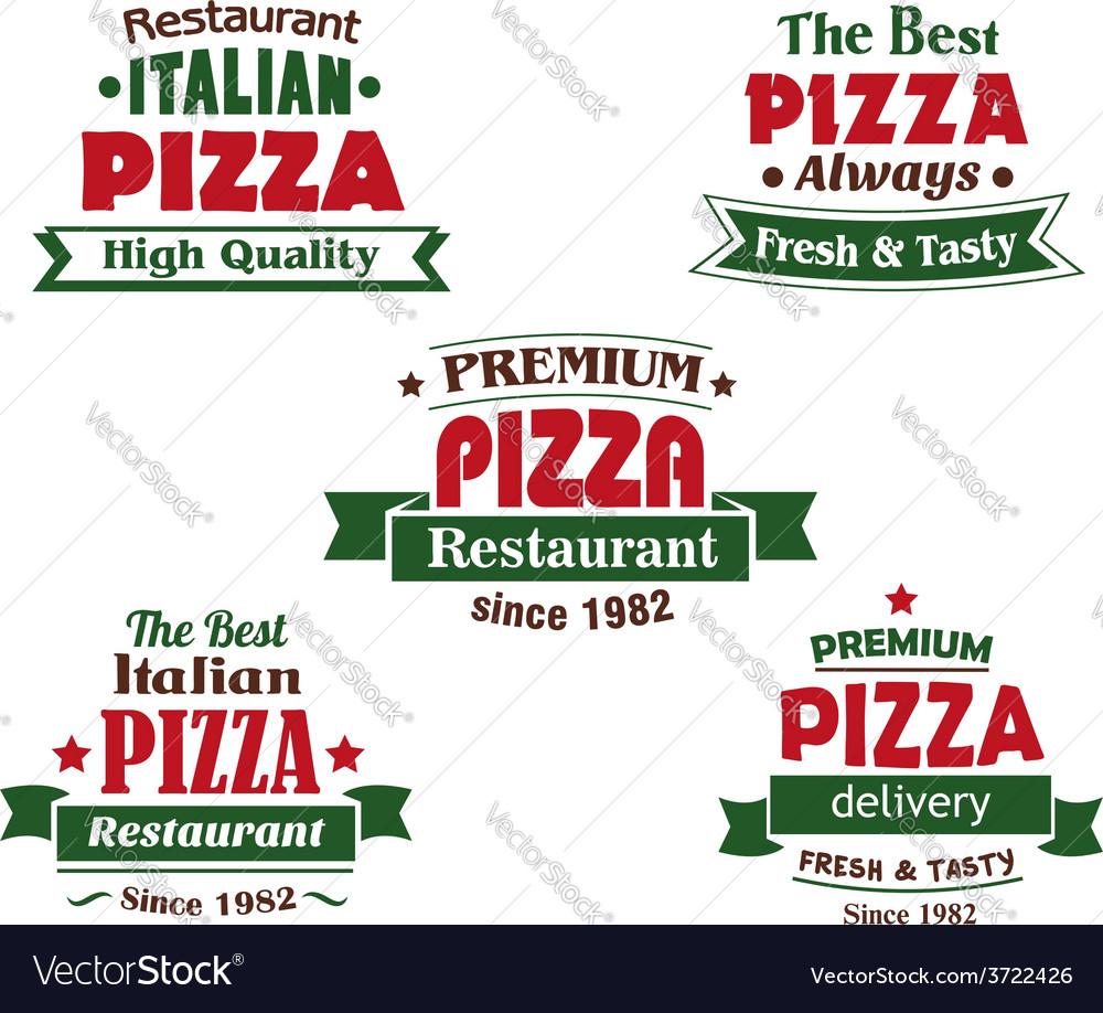 Italian pizza restaurant logo design elements vector image