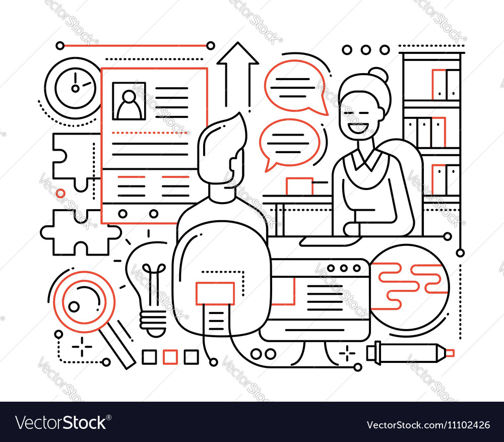 Job Interview - line design composition
