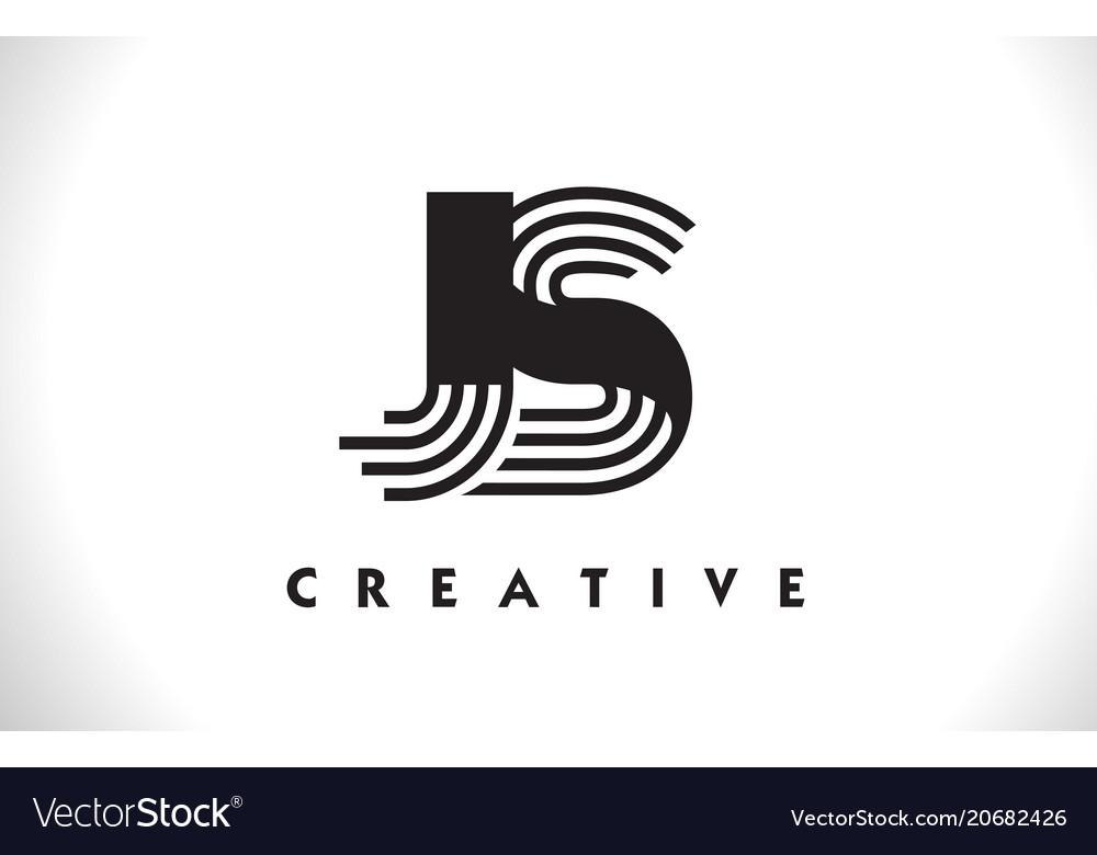 Js logo letter with black lines design line letter