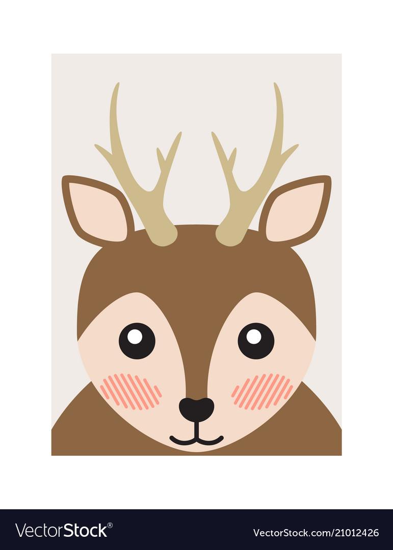 Pretty deer portrait cartoon card bright backdrop