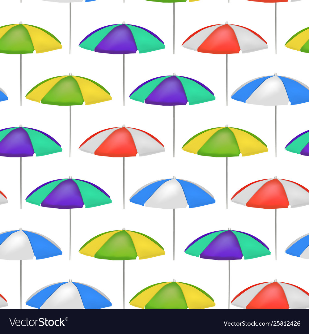 Realistic detailed 3d umbrella seamless pattern