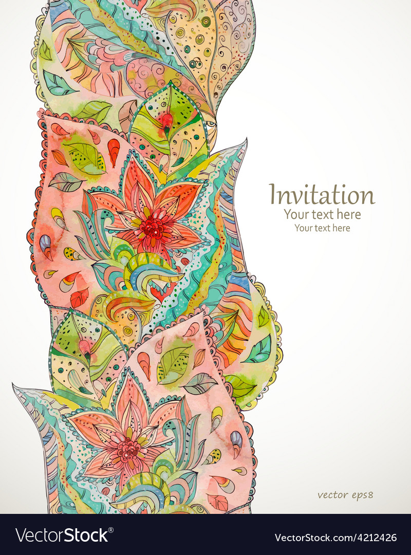 Seamless border with magic pattern watercolor