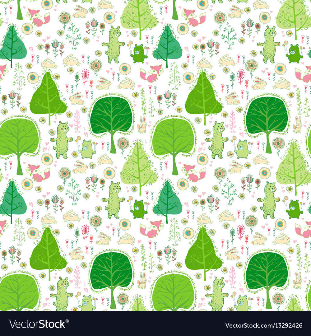 Seamless pattern with rabbits bear and flowers