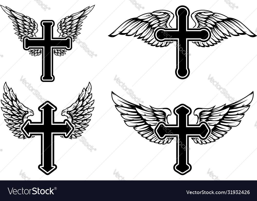 Set winged christian religious crosses