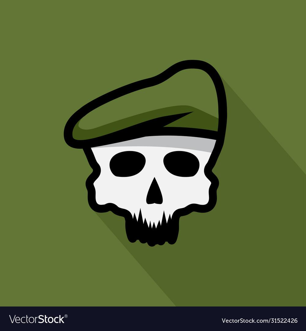 Skull in military beret design template