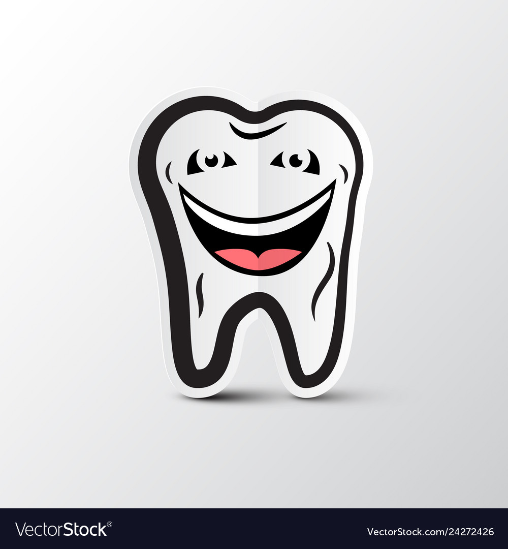 Smiling tooth logo dental hygiene symbol cleaning