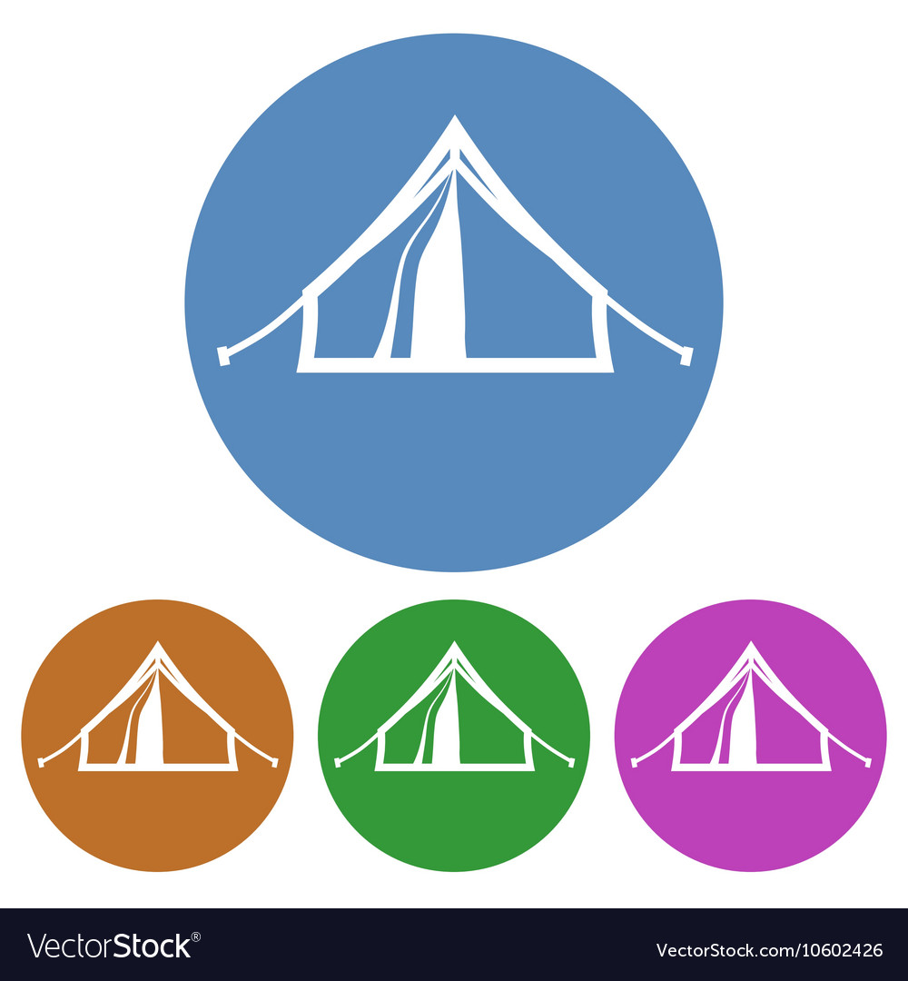 Tourist tent placed in color circles isolated vector image