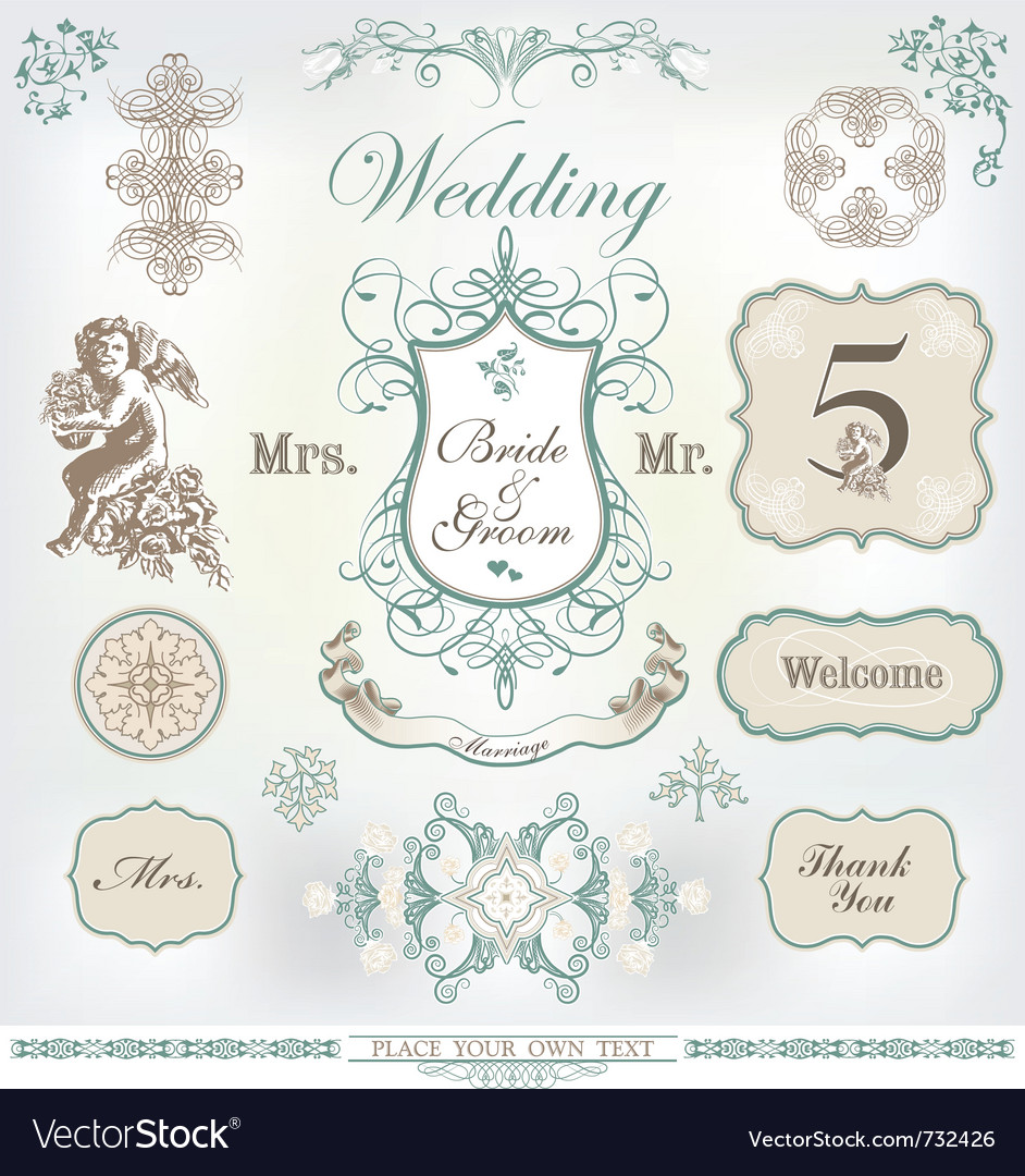 Wedding decoration set royalty free vector image wedding decoration set vector image junglespirit Images