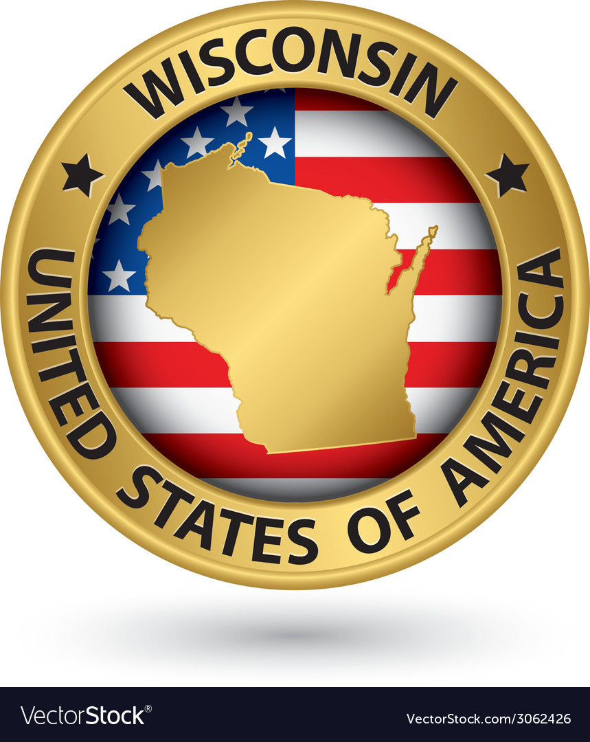 Wisconsin state gold label with state map