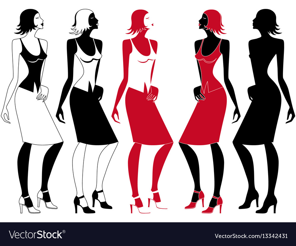 Abstract elegant woman in motion vector image