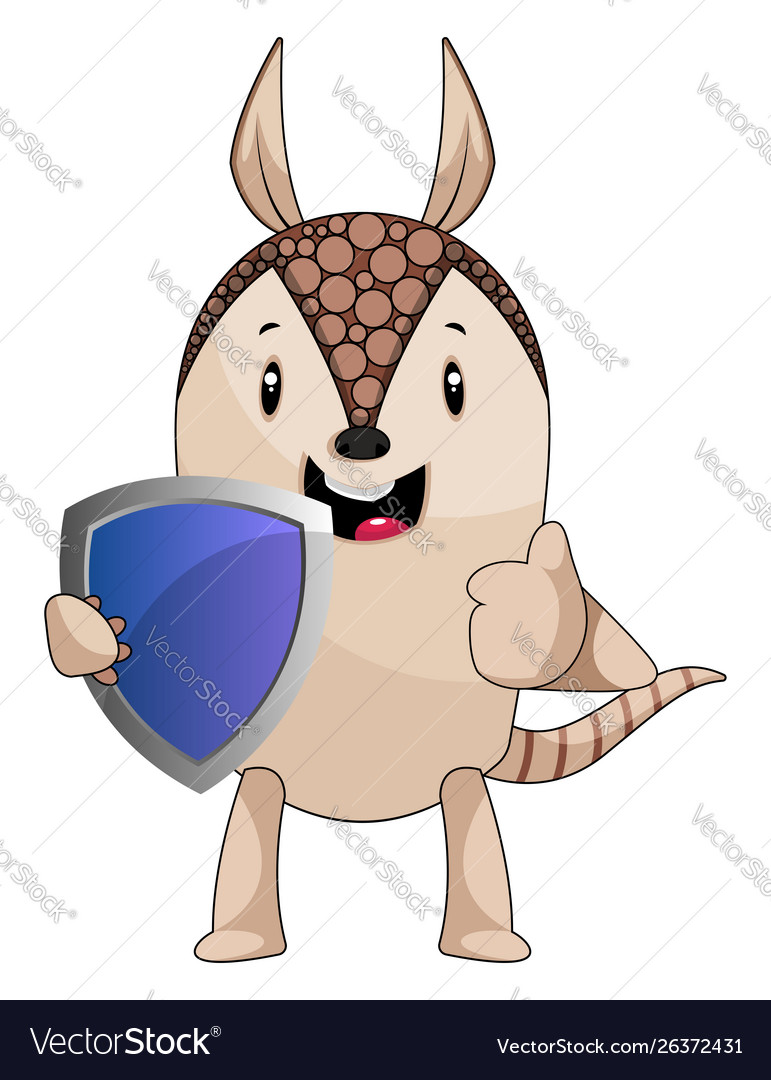 Armadillo with shield on white background