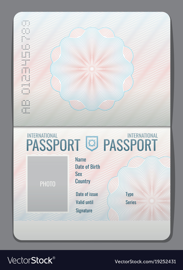 Blank open passport template isolated Royalty Free Vector