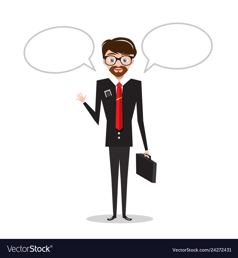 Business man in suit with empty speech bubbles