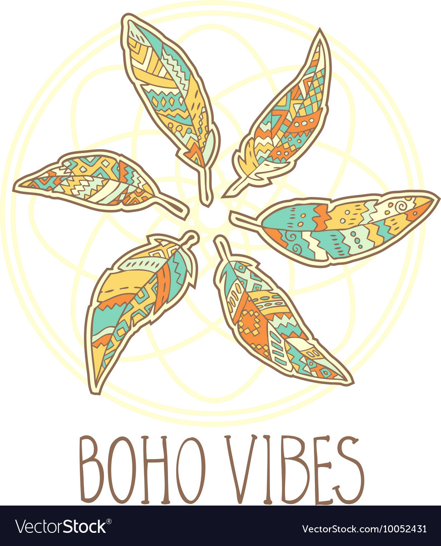 Composition of Boho ornamental feathers in circle vector image