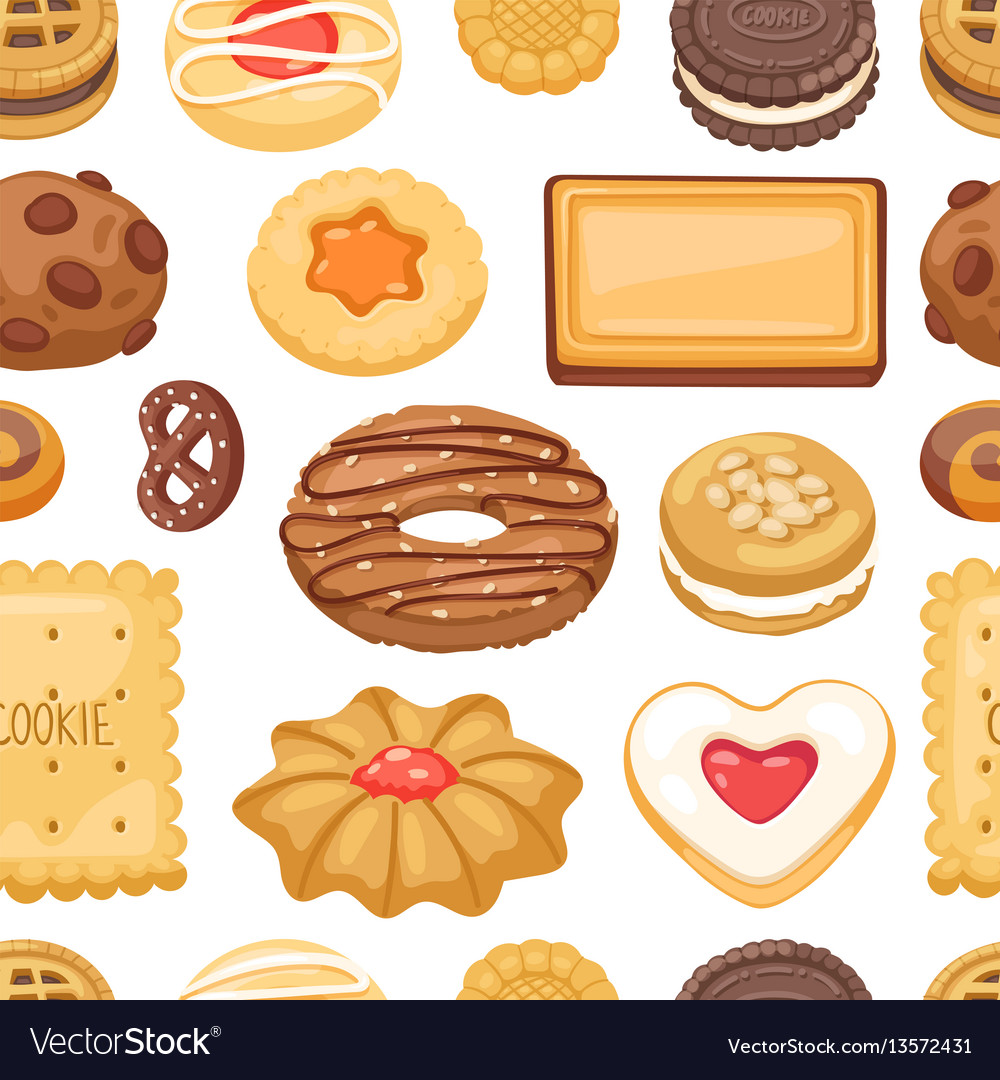 Different cookie cake isolated seamless
