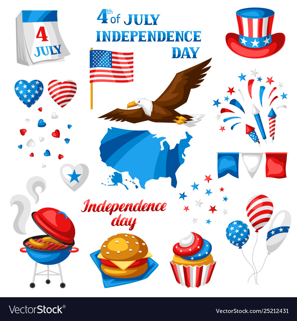 Fourth july independence day symbols set