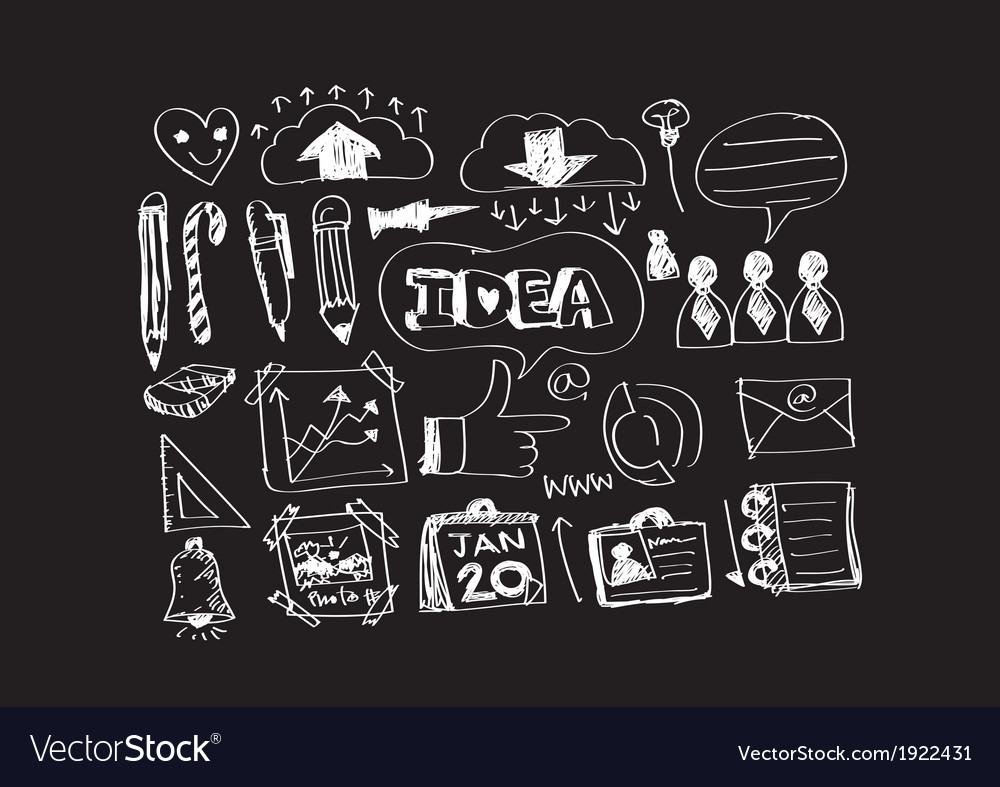 Hand doodle Business icon set idea design