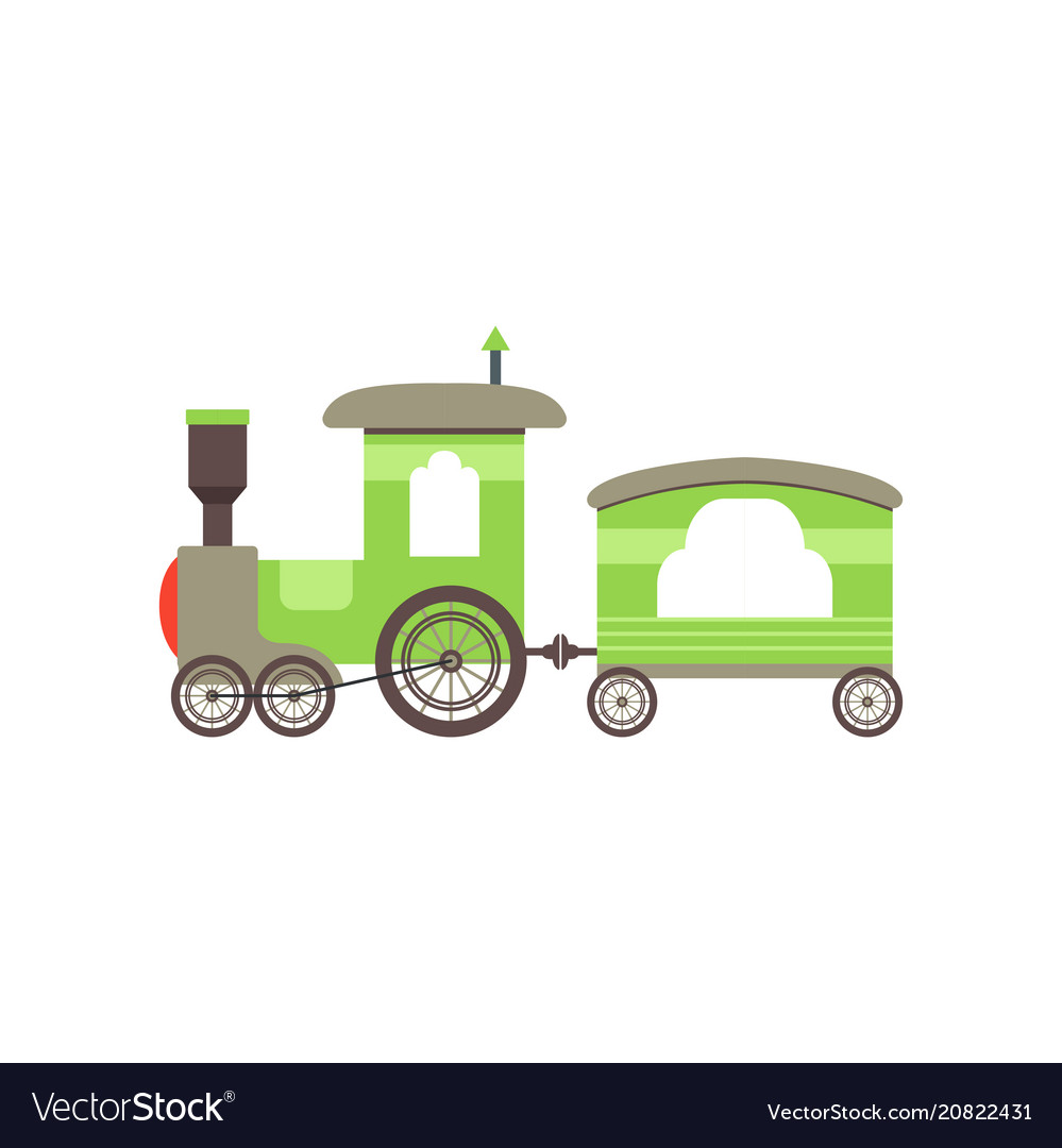 Kids cartoon green toy train railroad toy with