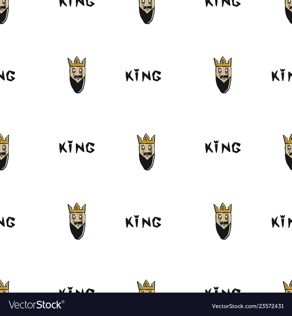 King head drawn by hand seamless pattern