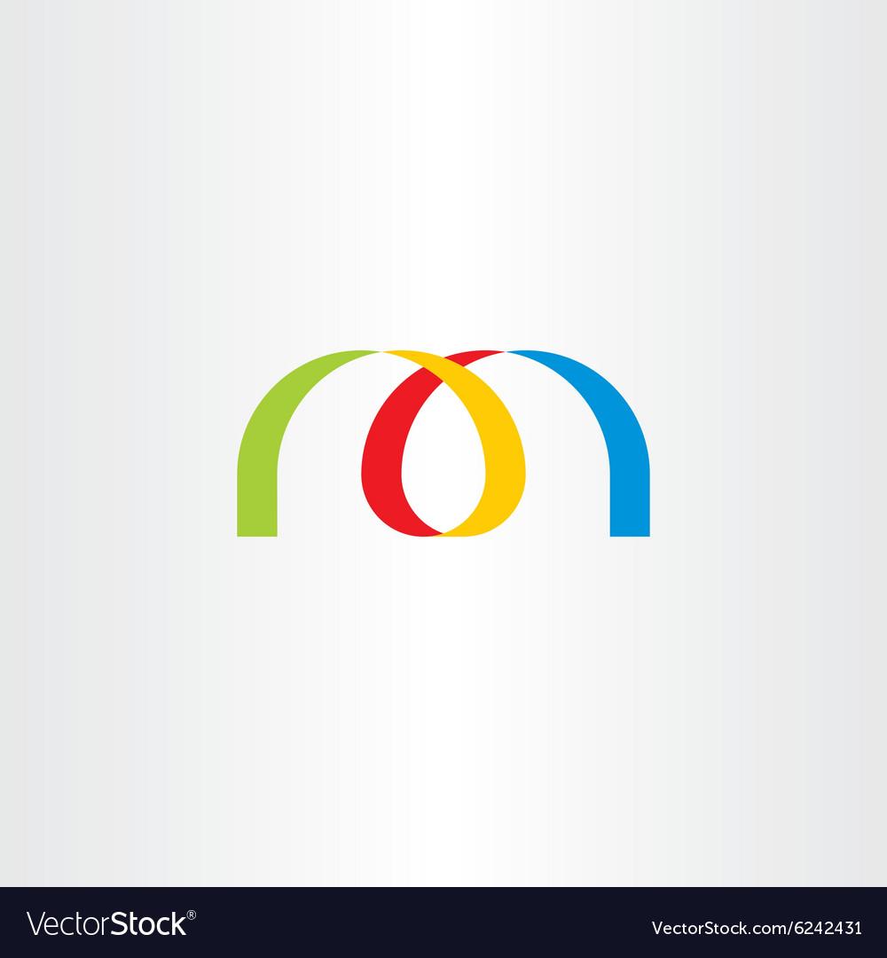 Logo letter m colorful ribbon