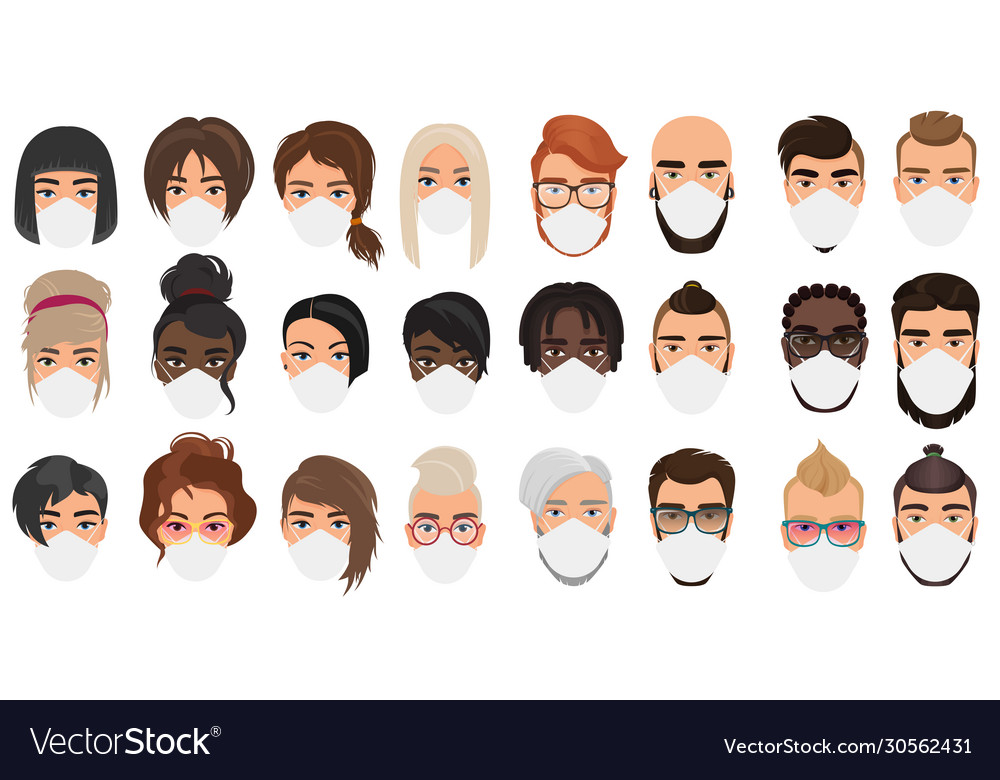 Many people in masks portraits character cartoon