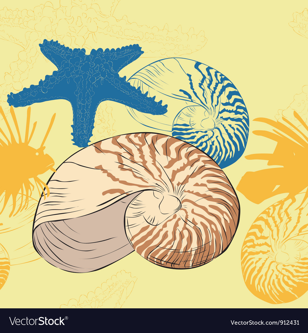 Seamless background of marine life