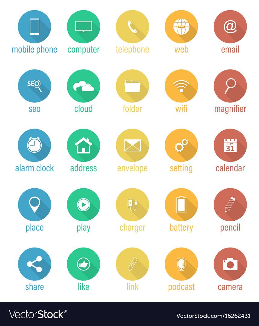 Set of flat round icons