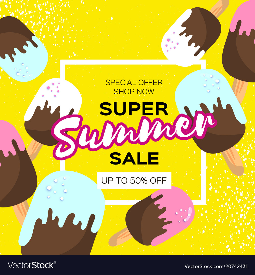 Super summer sale with melting ice cream on yellow vector image