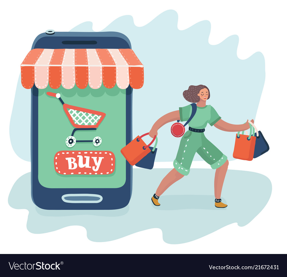 Women are near big smartphone with purchase
