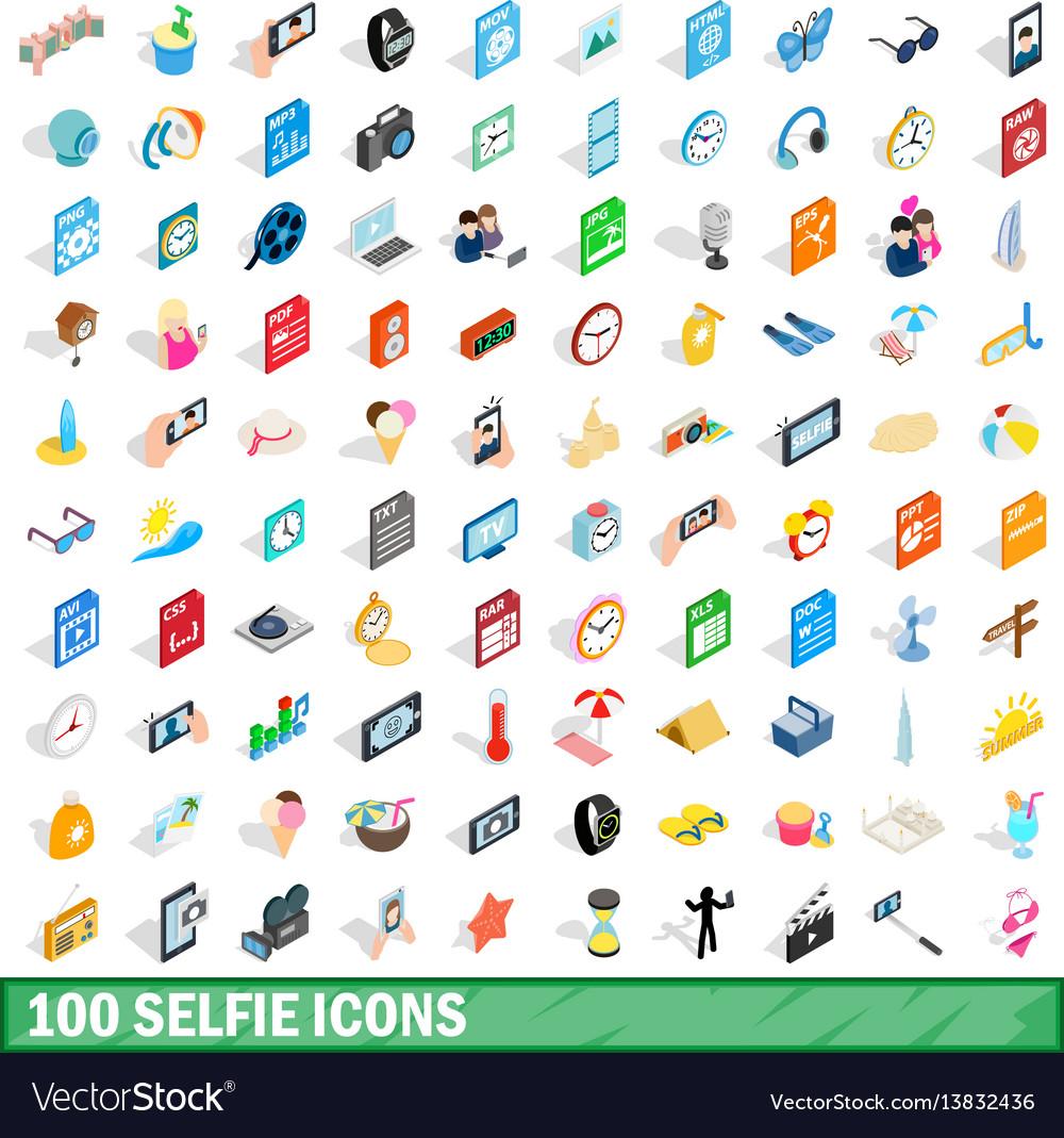 100 selfie icons set isometric 3d style