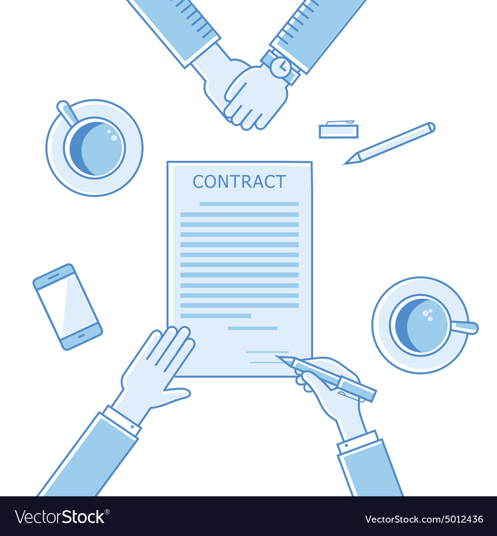 Business man hands holding contract signing of a