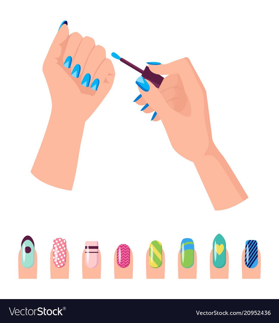 Hands and nail polish banner