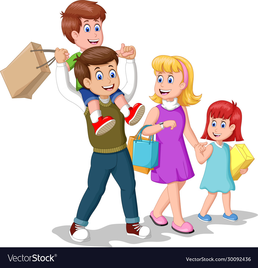 Happy Family After Shopping Cartoon Royalty Free Vector