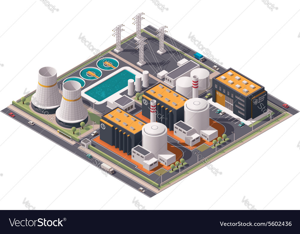 Isometric nuclear power plant icon