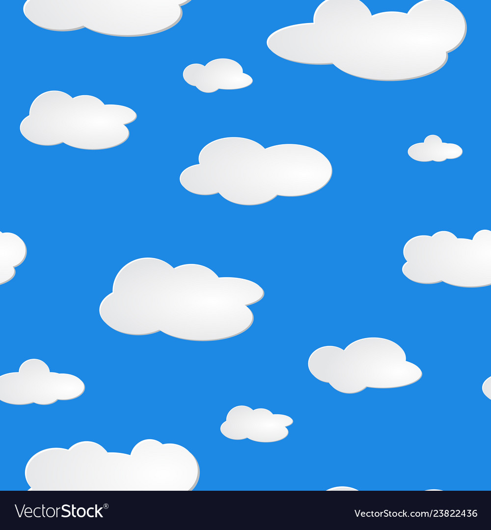 Light blue sky white clouds pattern seamless